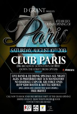 Club Paris 8-10-13 Saturday **Void**